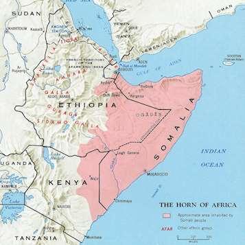 Karta över det somaliska språkets utbredning.